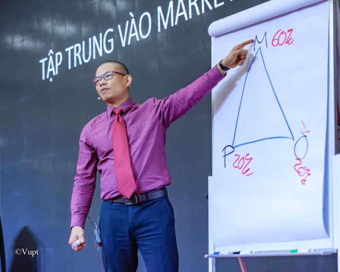 Luật sư Phạm Thành Long tại một chương trình đào tạo đội nhóm. Ảnh: T.L