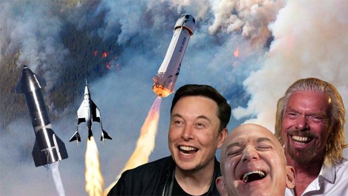 Các tỷ phú công nghệ như Richard Branson, Jeff Bezos hay Elon Musk đã bắt đầu cuộc đua thương mại hóa du lịch vũ trụ. Ảnh Shutter Stock