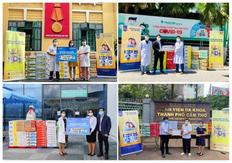 """Chuỗi hoạt động được Vinamilk triển khai trên cả nước với thông điệp """"Tuyến đầu khỏe mạnh, Việt Nam khỏe mạnh"""". Ảnh: TL."""