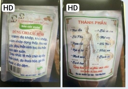 Hình ảnh gói thuốc Nam bệnh nhân đã sử dụng. Ảnh: BV.